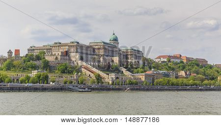 Buda Castle.View from the Danube cityscape background