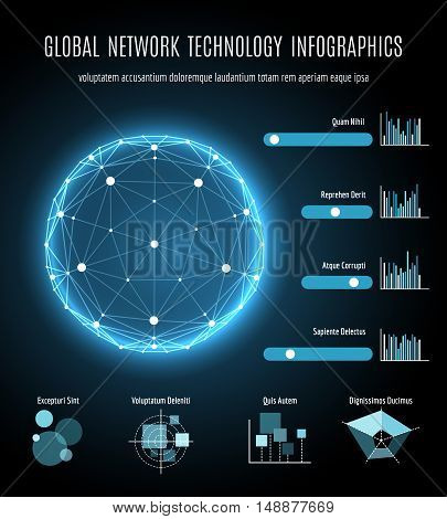 Global network connection and integration technology infographic. Global mobility internet connectivity vector background