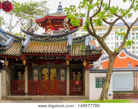 SINGAPORE, REPUBLIC OF SINGAPORE - JANUARY 09, 2014: Thian Hock Keng Temple or Temple of Heavenly Happiness - is one of the oldest and most important Chinese Buddhist Temples in Singapore. Duxton Hill area, Singapore