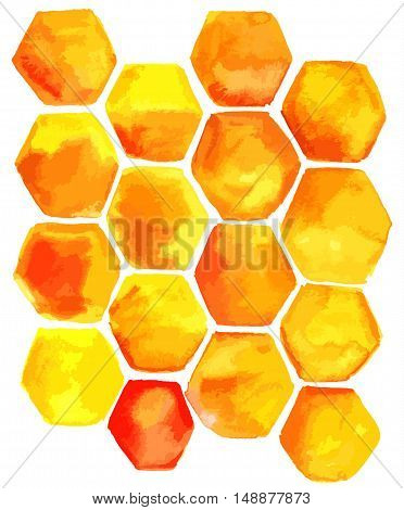 Abstract vector hand drawn background texture with yellow and orange cells for copyspace. Scalable freehand template