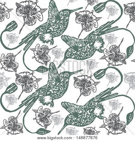 Linocut Hummingbird background. Vector Illustrated tropical Hummingbird seamless pattern.