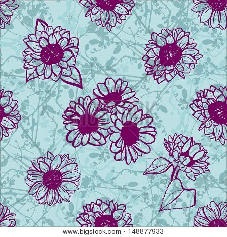 A seamless pattern of freehand vector sunflowers, on the background of abstract teal blue branches
