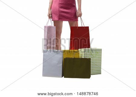 Young Woman With Full Shopping Bags