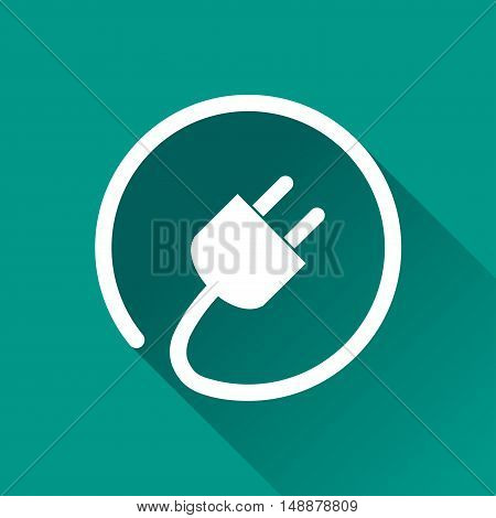 Illustration of electric plug icon with shadow