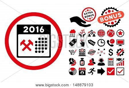 2016 Working Days icon with bonus design elements. Glyph illustration style is flat iconic bicolor symbols, intensive red and black colors, white background.
