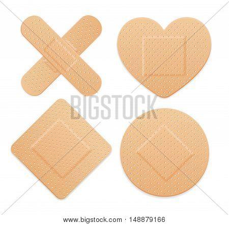 Aid Band Plaster Strip Medical Patch Set. Vector illustration