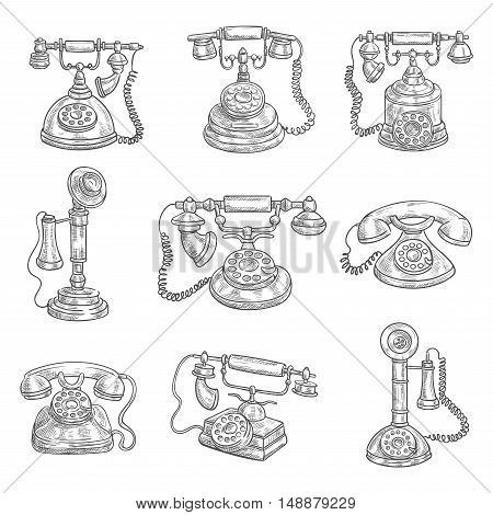 Old vintage retro phones with receivers, dials, wires. Sketch icons on color background. Vector pencil sketch
