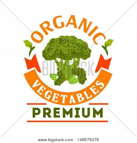 Broccoli organic healthy vegetable emblem. Premium healthy vegan food icon with green broccoli leaves. Vector vegetable icon for vegetarian product sticker, grocery, farm store, packaging, advertising tag