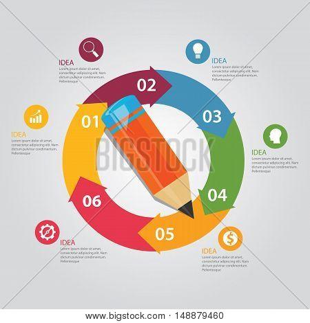 six 6 steps circle arrow pencil education circular presentation work-flow vector