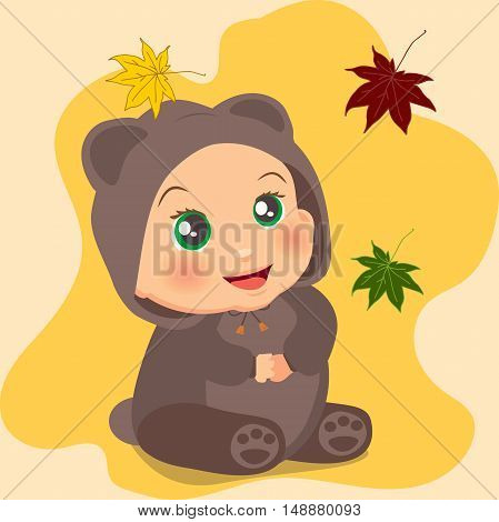 High quality original trendy vector illustration of a cute baby girl in suit with ears with autumn leaves on background