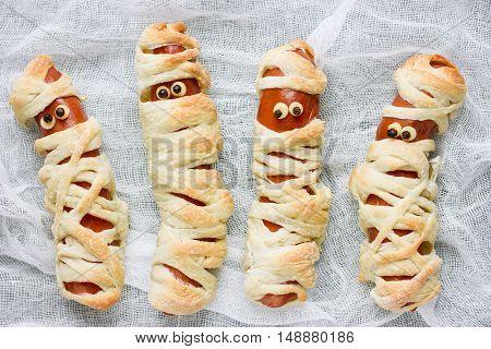 Cute sausage mummy fun food for kids close up