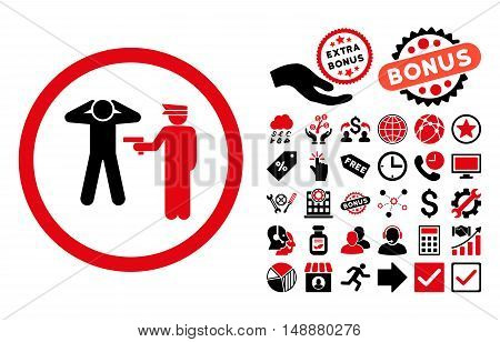 Arrest icon with bonus images. Glyph illustration style is flat iconic bicolor symbols, intensive red and black colors, white background.