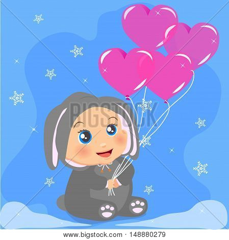 High quality original trendy vector illustration of a cute baby girl in suit with ears holding heart balloons with winter snowflakes on background