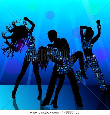 High quality original trendy vector Silhouettes of people dancing in nightclub
