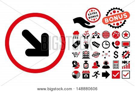 Arrow Down Right icon with bonus pictures. Glyph illustration style is flat iconic bicolor symbols, intensive red and black colors, white background.