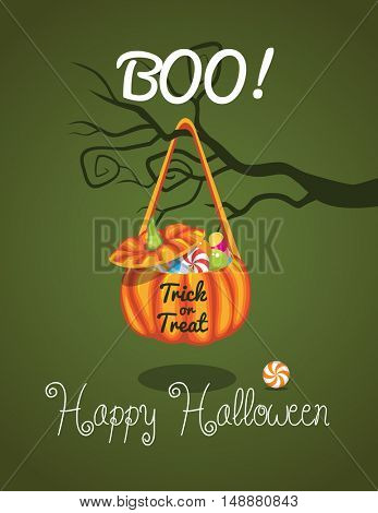 Vector Illustration of a Halloween Background. Bag with sweets on Halloween