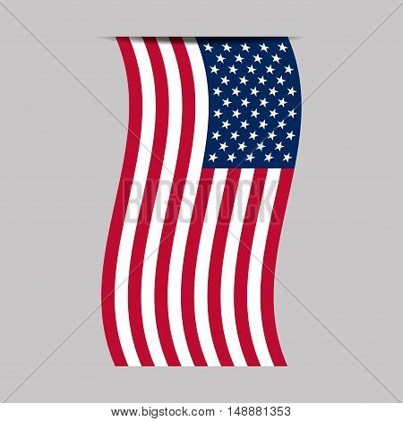 American flag. Isolated on white background. Vector illustration