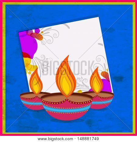 Creative colorful Oil Lamps (Diya) on floral background, Elegant Greeting Card design with space for your wishes, Vector illustration for Indian Festival of Lights, Happy Diwali celebration.