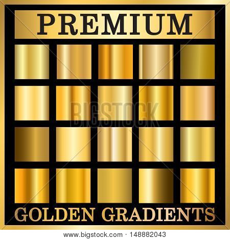 Gold texture square patterns set. Light realistic shiny metallic empty golden gradient templates collection. Abstract metal decoration. Design for award sale background web Vector Illustration
