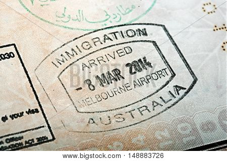 Australian passport stamp for entring the country