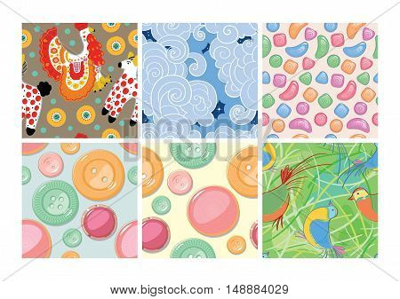 Set of seamless patterns. Dymkovo. Buttons Candy Birds