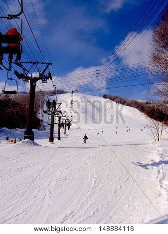 Ski fields in the Japanese sunshine, Hakuba, Japan