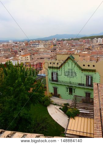 Stillness in the city, looking down on a Spanish town from up high