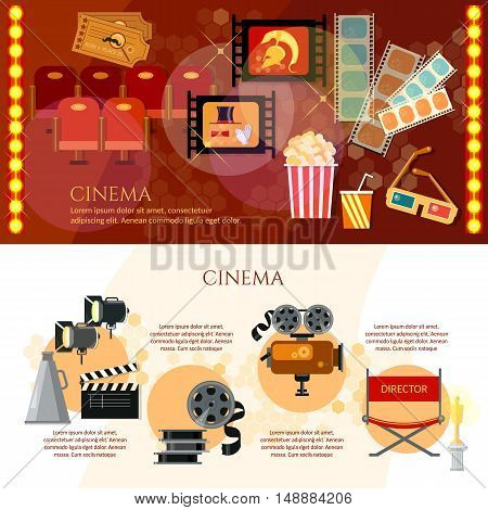 Cinema infographics festival movie tickets clapper popcorn old movie camera vector