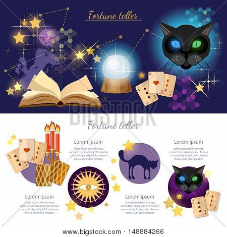 Astrology and alchemy infographics fortune telling vector magic open book illustration