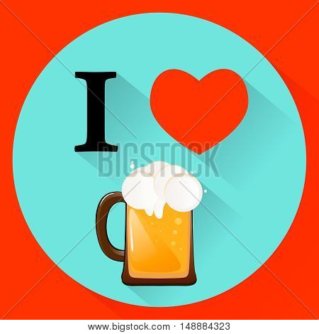vector illustration I love beer on Father's Day