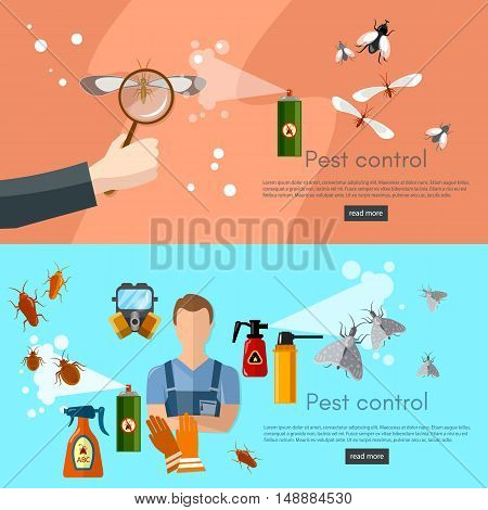 Pest control services banner detecting exterminating insects vector illustration