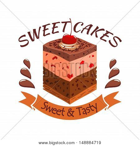 Sweet cake with berries. Bakery shop emblem. Vector icon of sweet cupcake with chocolate and souffle layers and cherry topping. Template for cafe menu card, cafeteria signboard, patisserie poster, bakery label