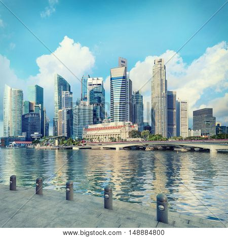 Singapore central quay with steps on foreground