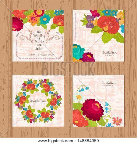 Set invitations for weddings, birthdays. Summer flowers in cartoon style