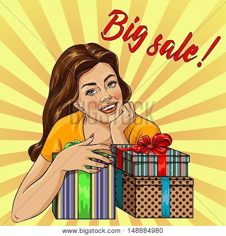 Girl with Shopping Bags. Sale Banner Pop Art Comic Style. Big Discount. Vector illustration