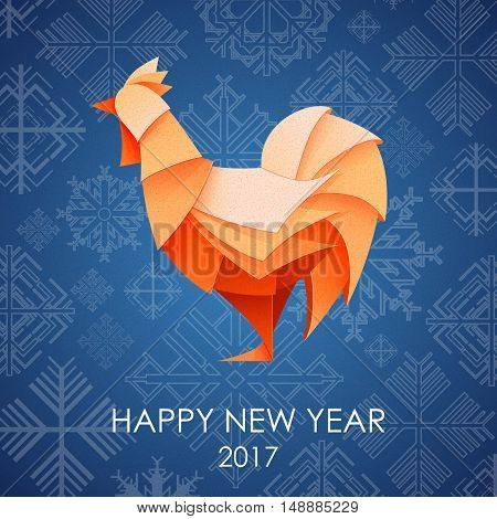 Origami Silhouette Of Cock Or Chicken. Happy New Year Card 2017
