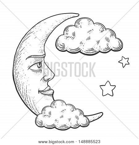 Moon with face in clouds engraving vector illustration. Scratch board style imitation. Hand drawn image.