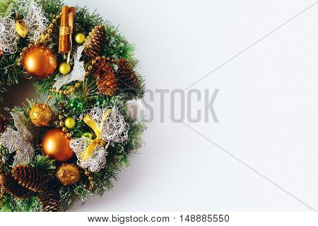 Christmas Wreath Composition On White