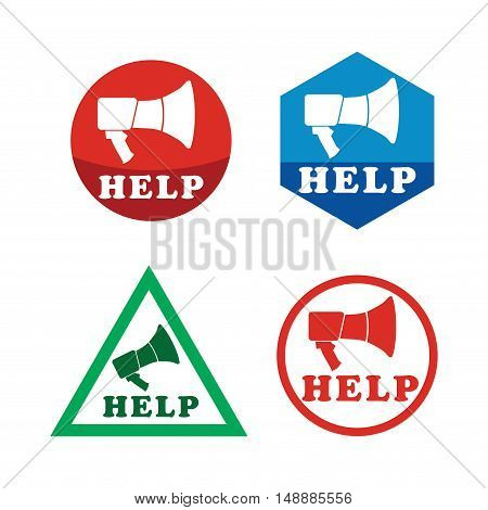 Help icon set with Megaphone. Abstract illustration for your aid banner.