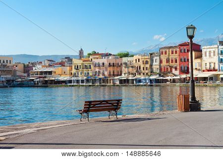 view of venetian habour of Chania at sunny day, Crete, Greece