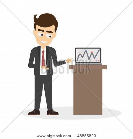 Isolated businessman with presentation on laptop. Funny cartoon smiling man showing statistics on the screen. Corporate presentation.