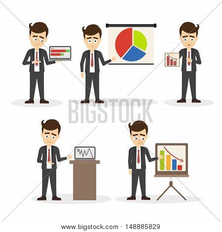 Sad businessman with presentation set. Isolated sad and confused cartoon men with laptop, chart or board on white background. Concept of failure, economy crash, crisis and risk.