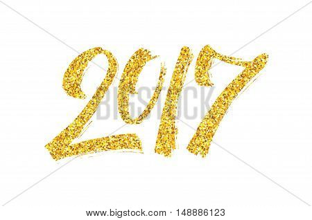 Happy New Year of the Rooster greeting card design template with gold glittering texture and chinese calligraphy text 2017 isolated on white background. Vector illustration with typography