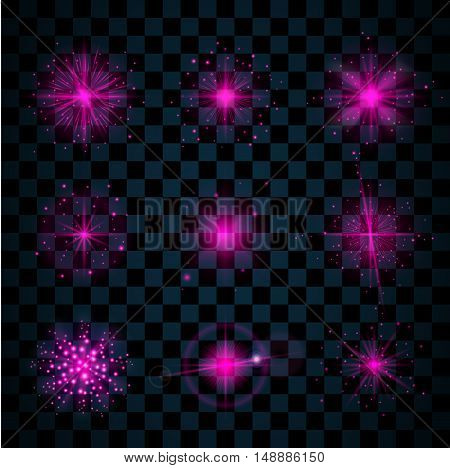 Pink shine stars with glitters sparkles icons set. Effect twinkle glare scintillation element sign graphic light. Transparent design elements dark background. Varied template. Vector illustration poster