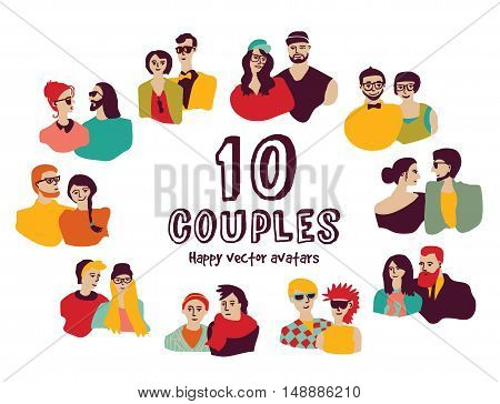 Family couples avatars people faces color set. Color vector illustration. EPS8
