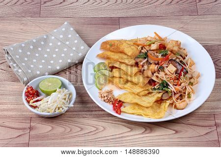 """Chinese Vegetable festival  food as crispy wonton with Thai fried mixed vegetable call  """"Pad Thai J""""."""
