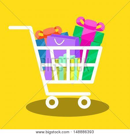 Shopping cart full of gift boxes vector. Market cart illustration.