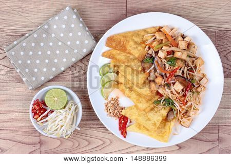 "Chinese Vegetable festival  food as crispy wonton with Thai fried mixed vegetable call  ""Pad Thai J""."