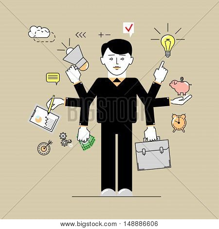 Multitasking. Businessman time to do many things at once. Flat linear vector illustration