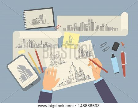 Top view of Desk Architect designer with Architectural projects
